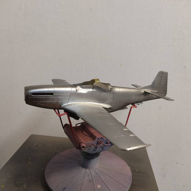 1/48 Eduard P-51D Mustang First silver color is on plane. I hope so that others will go fine too. #scalemodelling #scalemodelplane #scalemodel #scalemodelaircraft #eduardmodels #p51dmustang #modelplanes #mustangairplane