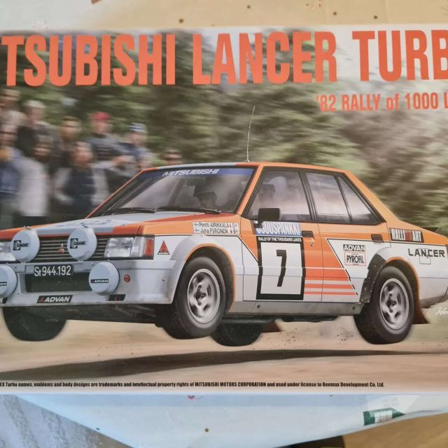 New model arrived. Nunu 1/24 Mitsubishi Lancer Turbo '82 Rally of 1000 lakes plus PE parts. Photos what is in box. #nunu  #scalemodelling #scalemodel #scalemodeling #mitsubishi #modelcar